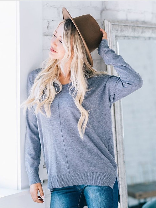 Dreaming of You Sweater in Heather Steel Blue