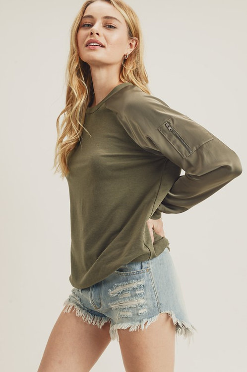 Better Than Fiction Bomber Top in Olive