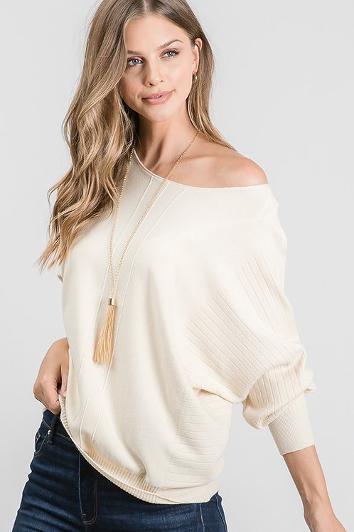 Hear Me Out Dolman Sweater in Cream