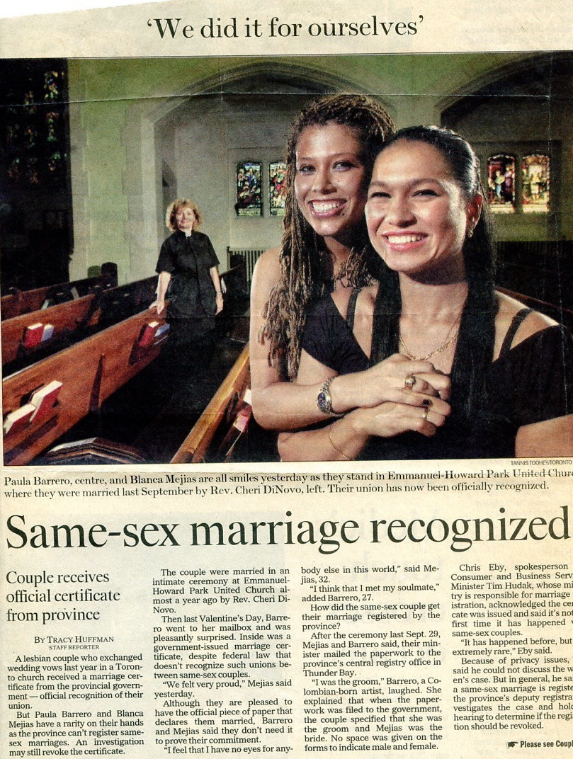 Newspaper clipping showing married same-sex couple in a church minister