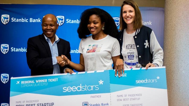 (L-R): Onkabetse Morapedi (Head of Enterprise Banking, Stanbic Bank); Sherzel Smith (Health Officer, Yapili); and Fanny Dauchez (Seedstars associate for Africa)