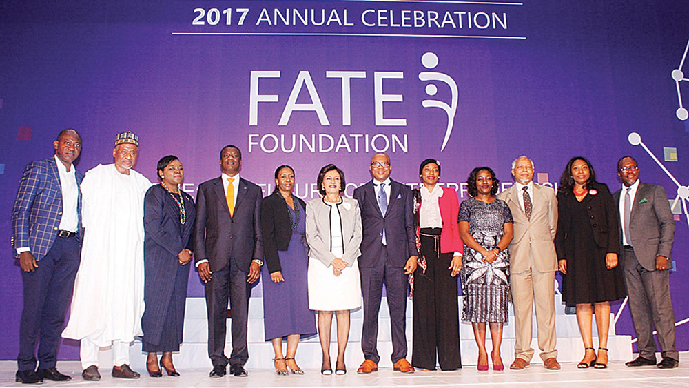 Lagos-Nigeria. Fate Foundation 2017 Annual Celebration. Board of Directors (L-R): Tokunbo Talabi; Muhammad Ahmad; Bola Adesola; Austin Okere (Keynote Speaker); Kofo Akinkugbe (Winner, SME Fate Model Entrepreneur award); Maiden Alex-Ibru (Publisher, The Guardian); Fola Adeola (Founder); Hajara Adeola; Adenike Adeyemi (Executive Director); Bayo Adeola; Habiba Balogun; Dipo Davies