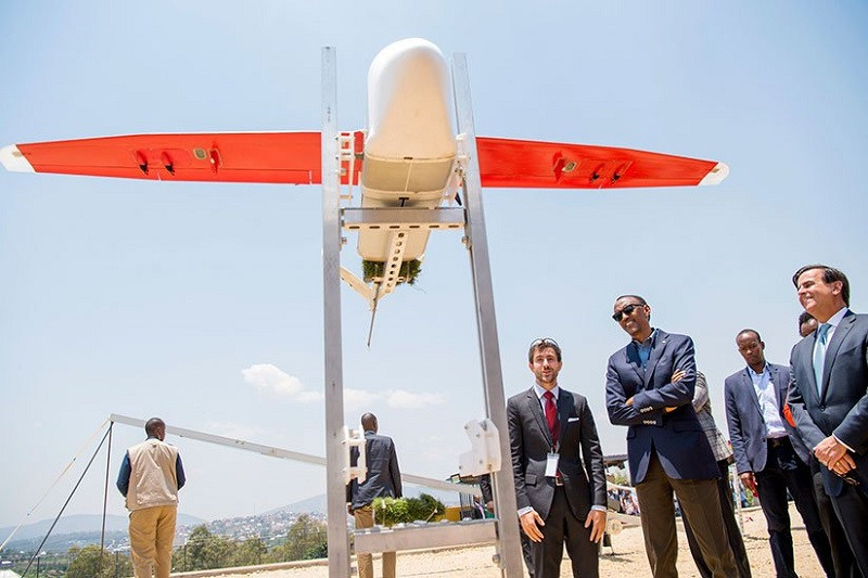 Rwandan President, Paul Kagame , was present at a launchof Zipline at Kabgayi hospital, in the country's Southern Province