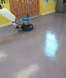 Cleaning safety flooring in pre school Stowmarket.