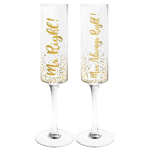 Gold Mr Right Mrs Always Right Flute Set