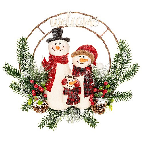 Jolly Snowman Family Welcome  Wreath