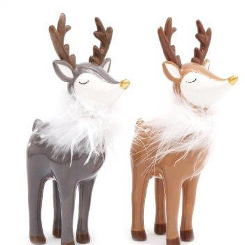 Ceramic Reindeer with Faux Feathers