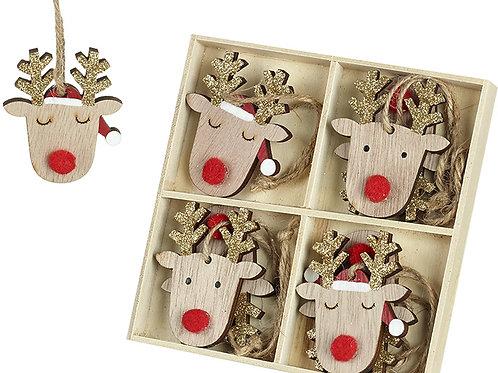 Pack of 8 Wooden Reindeer Hangers