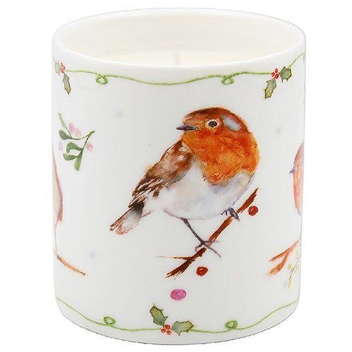 Winter Robin Christmas Candle