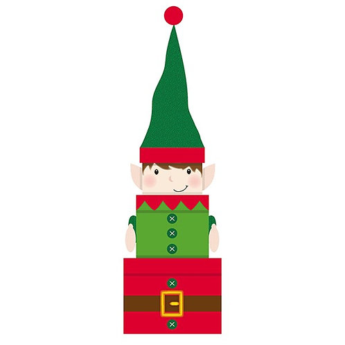Stackable Plush Christmas Gift Box Set- Elf