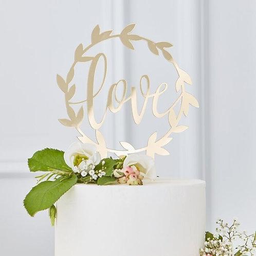 GingerRay Gold Acrylic  Love Cake Topper