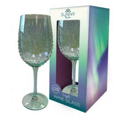 Sunny by Sue-Green Lustre Wine Glass