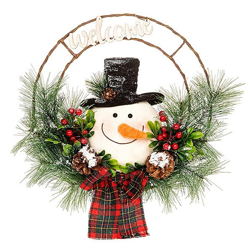 Jolly Snowman Welcome Wreath