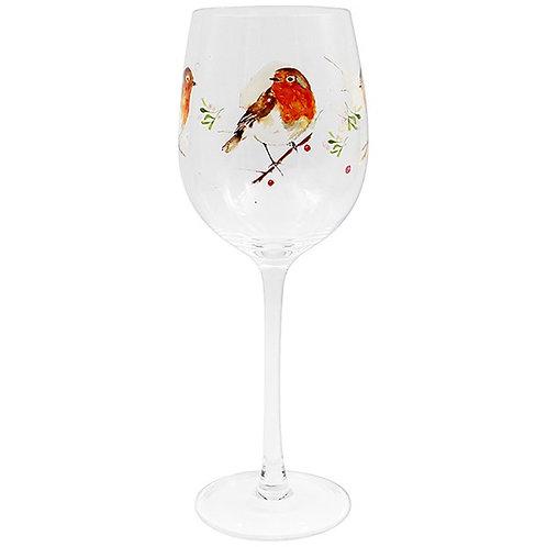Winter Robin Wine Glass