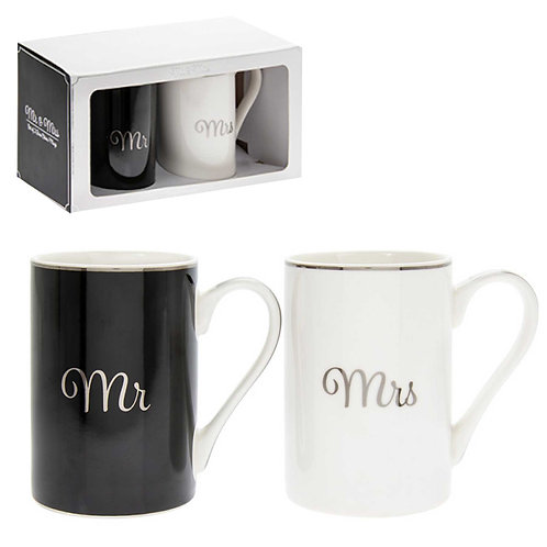 Mr & Mrs Fine China Mug Set