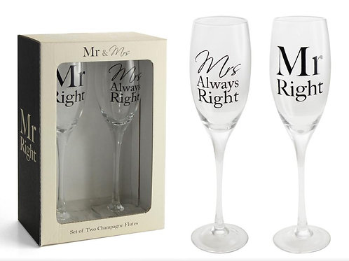 Mr Right Mrs Always Right Glass Set