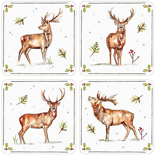 Winter Stag Coaster Set