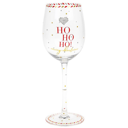 Mad Dots Christmas Wine Glass