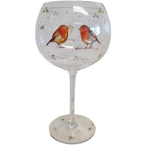 Winter Robin Gin Glass
