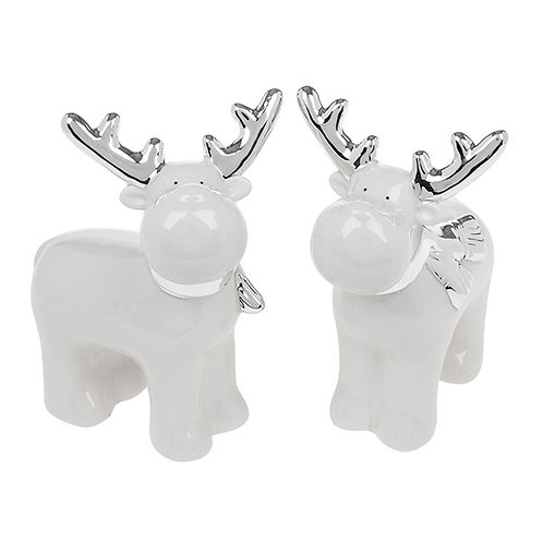 White and Silver Ceramic Standing Reindeer
