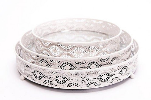 Set of 3 Shabby Mirror Candle Plates