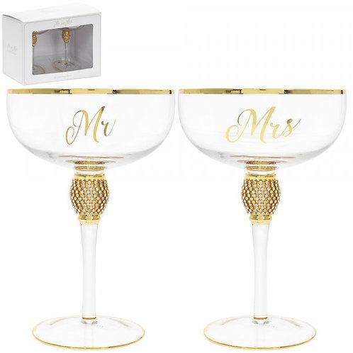 Mr & Mrs Gold Glitter Ball Coupe Glasses