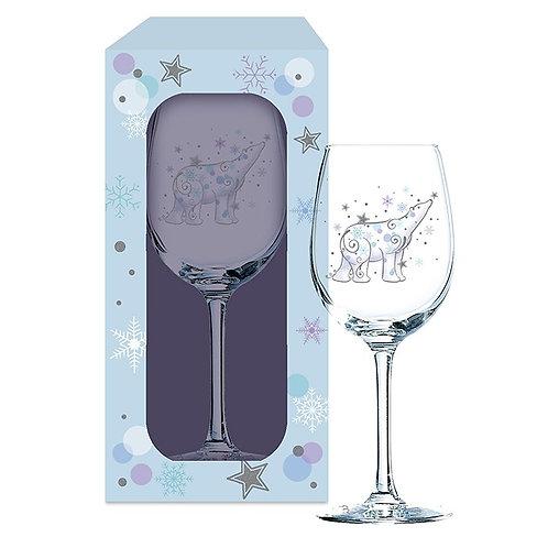 Magical Christmas Wine Glass - Polar Bear