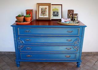 Blue and Gold: Regal Dresser Makeover