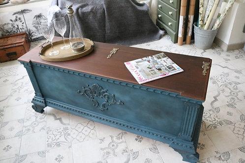 *SOLD* Cassapanca in Legno Dipinto a Mano Vintage Blue
