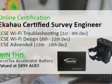 Get Wi-Fi Survey Certified  & WIN an AccelTex Accelerator 2.0 Battery Pack!