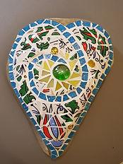 Gartendeko, Mosaik auf Stein, Glas, Kera