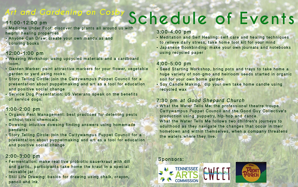 Art and Gardening On Cosby Festival Schedule of Events