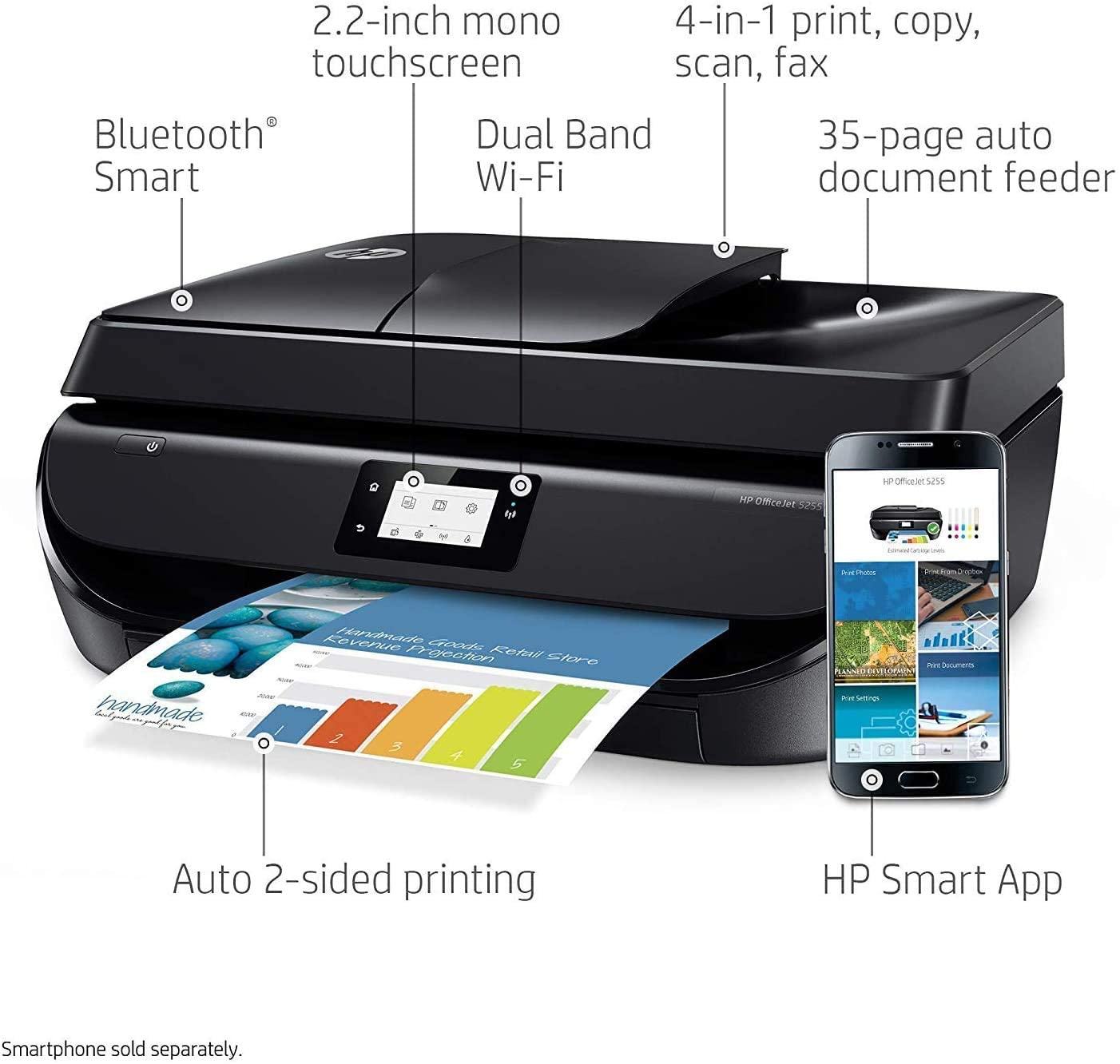 HP OfficeJet 5255 Wireless All-in-One Color Printer
