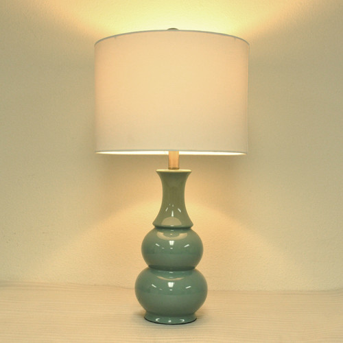 Teal Ceramic Double Gourd Table Lamp