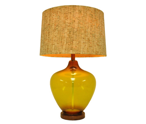 Superbe Amber Glass Jar U0026 Metallic Base Table Lamp