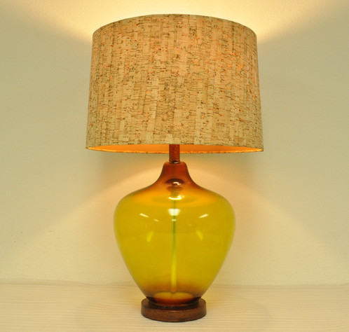 Amber glass jar metallic base table lamp home lighting el decorative glass jar table lamp mozeypictures Gallery