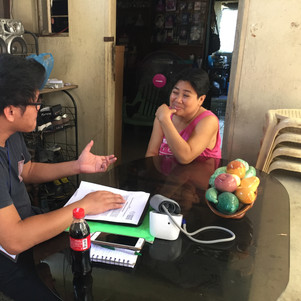 Dom interviewing a participant
