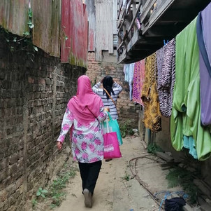 Hidayah on her way to one of the villages