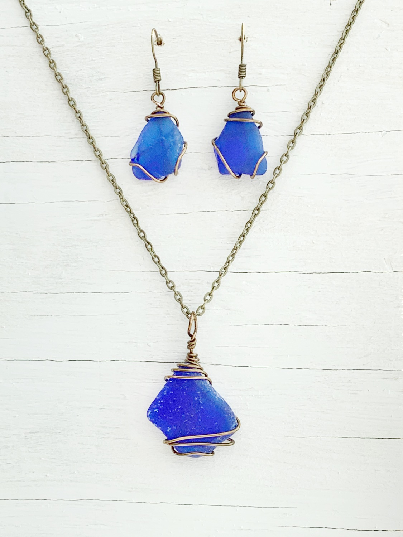 Beach Glass Set - Necklace & Earrings
