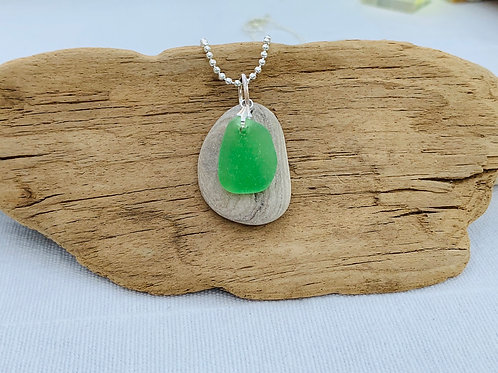 Layered stone necklace with beach glass