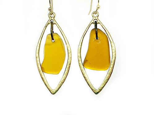 Amber beach glass earrings