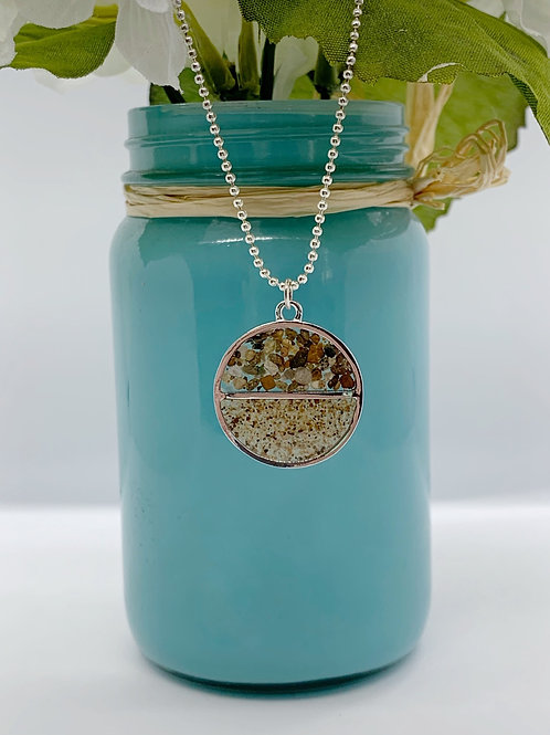 Circular Sand & Resin Necklace