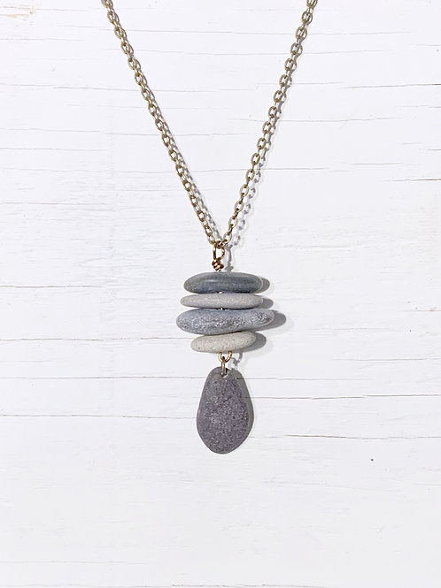 Cairn with stone pendant necklace