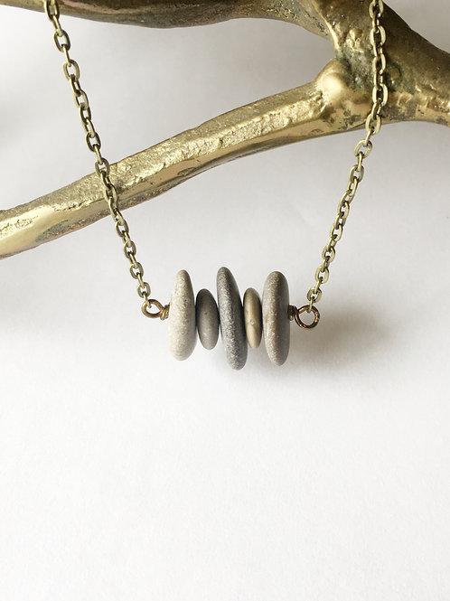 5 stone sideways stacked necklace
