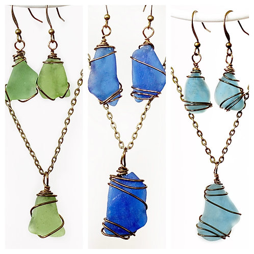 Beach Glass Set - Necklace & Earrings