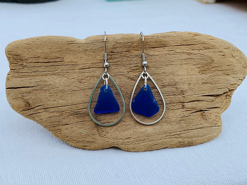 Cobalt blue beach glass earrings