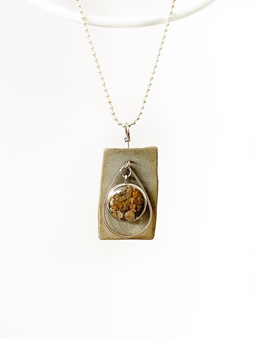 Silver Sand and Stone Necklace