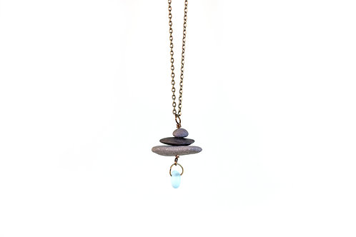 Cairn necklace with recycled glass