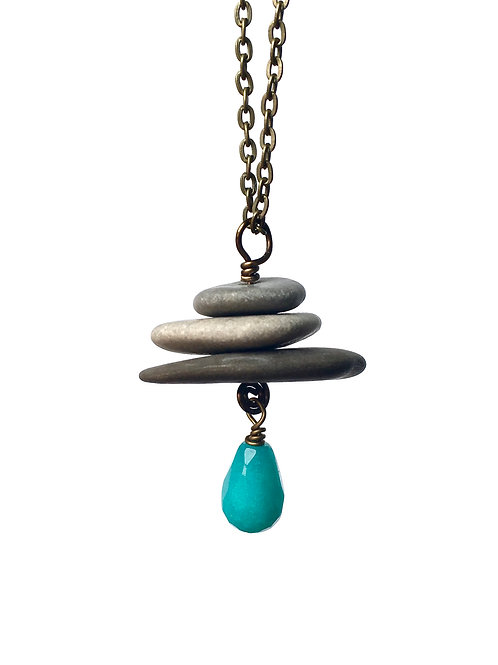 Cairn necklace with dyed jade