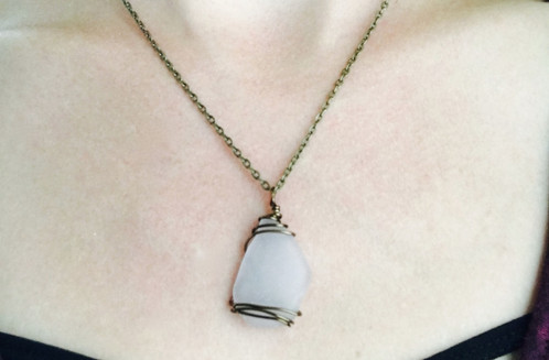 Beach glass necklace great lakes rock shop jewelry one of a kind necklace made from a wire wrapped piece of genuine beach glass beach glass hand picked from a beach on lake michigan mozeypictures Image collections